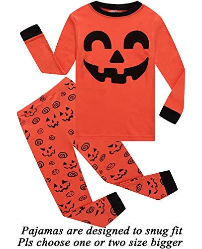 Little bety 100% Cotton Boys Pumpkin Pajamas Long Sleeve Toddler Pjs Kids Sleepwear 5T -