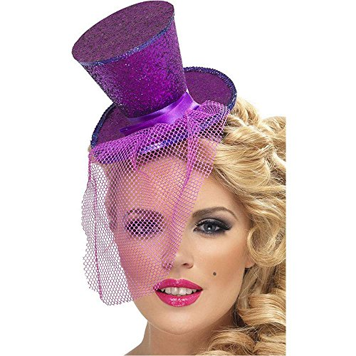 Purple Glitter Mini Top Hat on Headband - One Size
