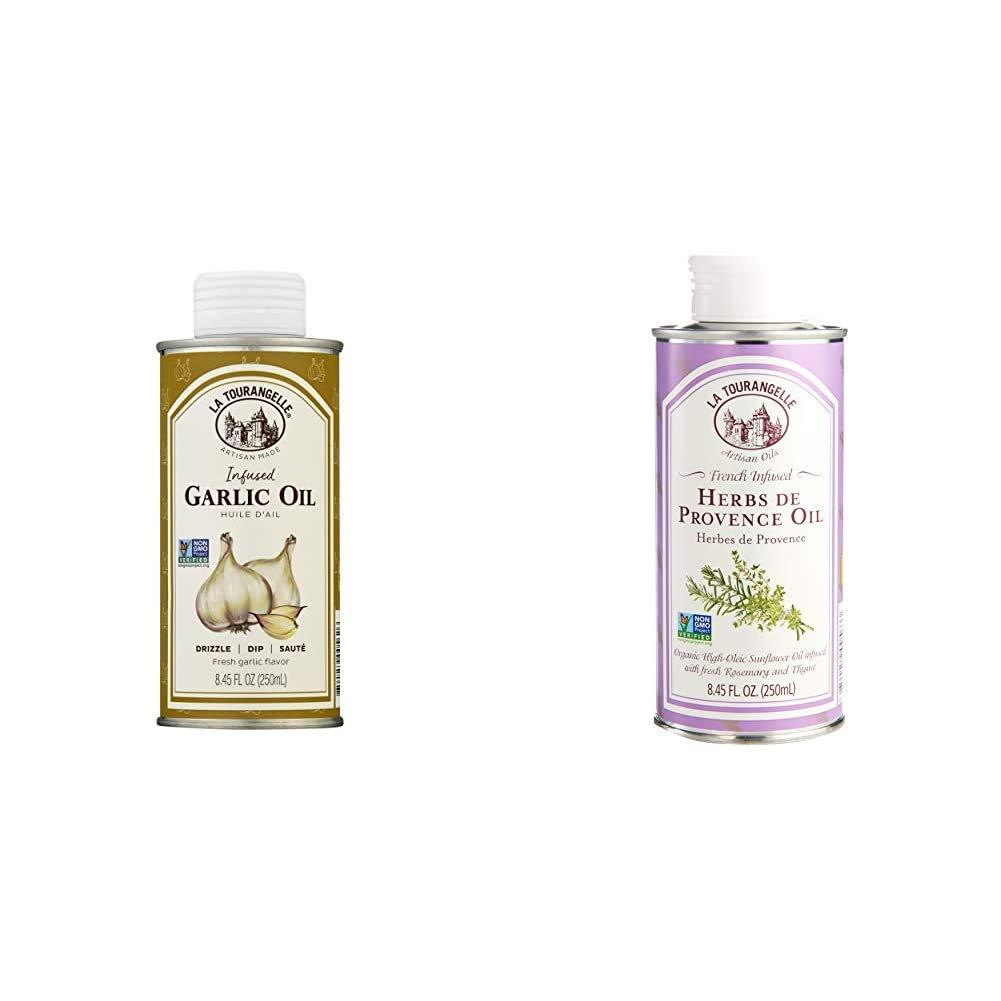 La Tourangelle, Garlic Infused Sunflower Oil, 8.5 fl oz & Herbs De Provence Infused Sunflower Oil, 8.45 Fl. Oz.