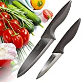 Ceramic Knife Set, 2pc + Sheaths - Chef and Paring Knives with Black Mirror Finish Blades