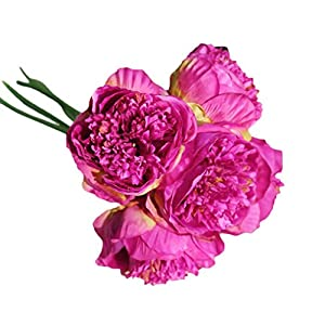 Artificial Peony,Clearance! 1Bouquet 5 Heads Artificial Peony Silk Flower Leaf Home Bridal Wedding Party Festival Bar Decor 11