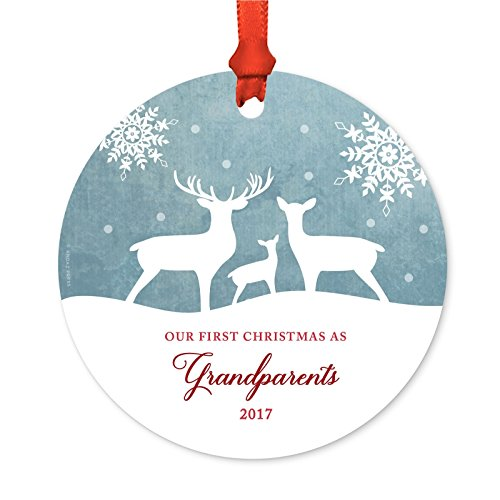 - Andaz Press Family Metal Christmas Ornament, Our First Christmas As Grandparents 2018, Rustic Deer Winter Snowflakes, 1-Pack, Includes Ribbon and Gift Bag