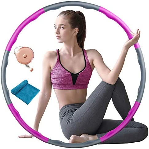 Fitness Exercise Weighted Hoops, Premium Soft Padding Weighted Hoop for Adults Weight Loss, 8 Sections Adjustable Adult and Children Detachable Workout Fitness Hoops 1