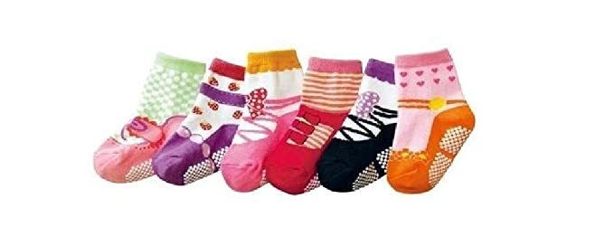 Baby Girls Infant Ballet Ballerina Socks 6 Packs Anti Slip Pink Age
