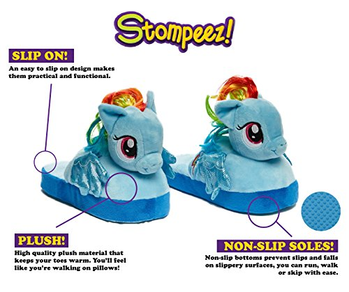 Stompeez Animated My Little Pony Plush Slippers - Ultra Soft and Fuzzy Rainbow Dash Character - Wings Flap as You Walk - Small by Stompeez (Image #2)