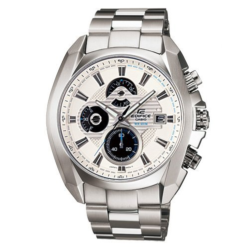Men's Stainless Steel Edifice White Dial Analog Quartz Tachymeter ()
