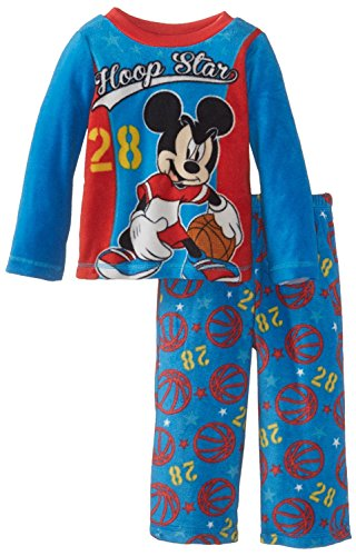 Mickey Mouse Little Boys' Toddler Cozy Fleece Pajama Set, Blue, 4T - Mickey Basketball