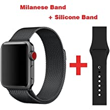 Greatou Band for Apple Watch Series 1 / 2 / 3,Milanese Mesh Stainless Steel Loop Wrist Strap Replacement Band with Adjustable Magnetic Closure & Black Silicone Band for iwatch,38mm,Black