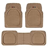 Motor Trend MT-923-BG FlexTough Contour Liners - Deep Dish Heavy Duty Rubber Floor Mats for Car SUV Truck & Van - Tan Beige