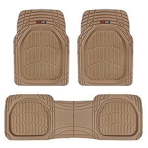 Motor Trend 923-BG Beige FlexTough Contour Liners-Deep Dish Heavy Duty Rubber Floor Mats for Car SUV Truck & Van-All…
