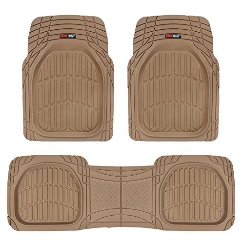 Motor Trend MT-923-BG FlexTough Contour Liners - Deep Dish Heavy Duty Rubber Floor Mats for Car SUV Truck & Van - Tan - Honda Carpet Kits