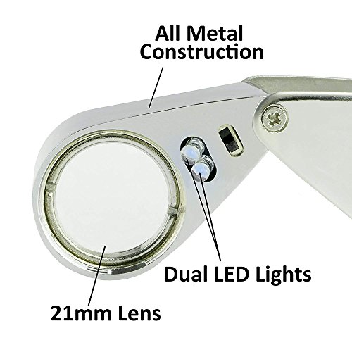 Folding Illuminated 30X Magnifier with 2 LED Light Reading Jewelry Eye Small Handheld Magnifying Professional Loupe Glass by ITODA (Image #5)