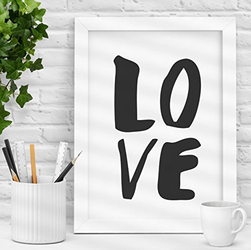 LOVE Black and White Typography Art Print Loving Gift for Girlfriend or Children's Bedroom Wall Decor or a Beautiful Wedding Gift -