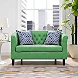 Modern Contemporary Urban Design Living Lounge Room Loveseat Sofa, Green, Fabric