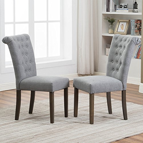 Merax Upholstered Fabric Dining Chairs Tufted Cushion Seat with Solid Wood Legs for Living Room Chairs Set of 2 (Gray) ()