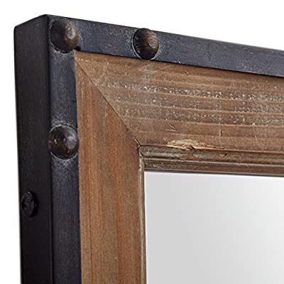 "Stone & Beam Wood and Iron Mirror, 42.25""H, Natural Wood and Black"