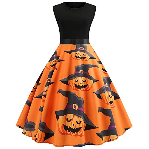 EbuyChX Pumpkin Printing Women Sleeveless Vintage Belt Halloween Female Dress Dark Orange S -