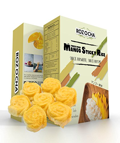 Rozocha Freeze Dried Mango with Sticky Rice Bites 3.52 Ounce (0.88 Oz x 4 Count) Healthy Snack for Kids and all Ages (Made from 100% Real Mango and Real Sticky Rice) ()