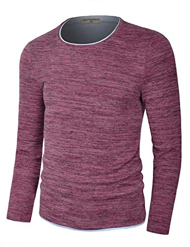 Derminpro Men's Crew Neck Pullover Cotton Knitted Long Sleeve Casual Contrast Sweater Heather Red X-Large