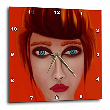 3dRose DPP_15590_3 Red Wall Clock, 15 by 15-Inch
