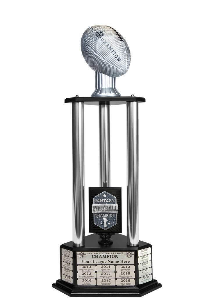 Customizable 36'' Fantasy Football Trophy with Free Engraving for up to 19 Years of Past Winners (Vivid Silver, Silver Columns) by TrophySmack