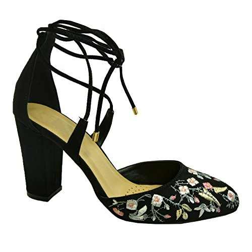 Cucu Fashion Brand New Womens Floral Court Pumps Ladies Girls Lace Up Sandals High Block Heels Casual Summer Party Shoes Size Uk 3-8 Black swy6l