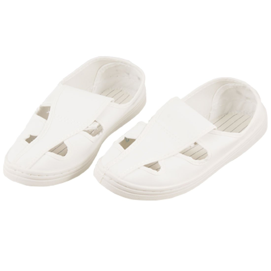 uxcell Woman White ESD Faux Leather PVC Butterfly Clean Room Shoes US 6.5