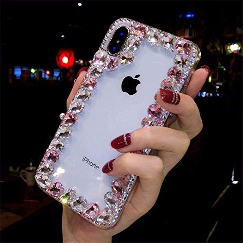 Alcatel Fierce 4 Case,Alcatel Allura Case,Alcatel Pop 4 Plus Crystal Diamond Case, 3D Handmade Luxury Sparkle Crystal Rhinestone Diamond Glitter Bling Clear TPU Case (Border/Pink)