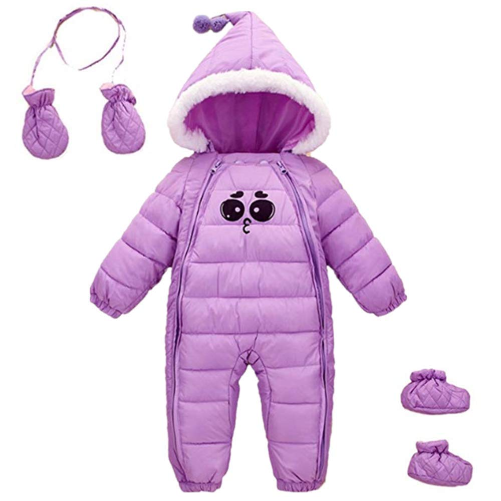 Baby Girls Winter 3 Piece All in One Hooded Snowsuit Thick Down Jumpsuit Puffer Romper Shoes and Golves 18-30 Months Purple by Ohrwurm