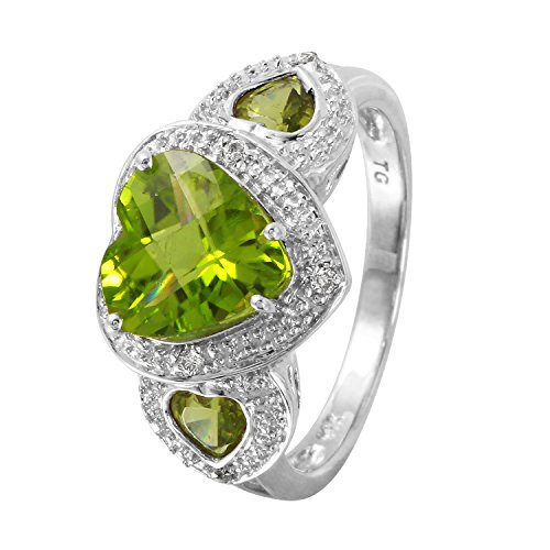 (3.18 Carat Natural Peridot Diamond 14K White Gold Heart Cocktail Ring for Women Size 7)