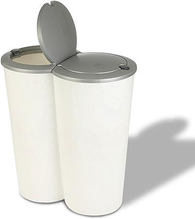 Cubo de basura para reciclaje de basura, 50 L, plástico para jardín: Amazon.es: Hogar