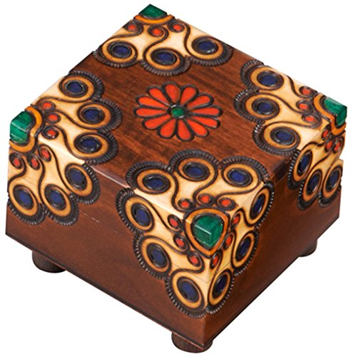 Polish Handmade Wooden Trick Secret Puzzle Box Floral Keepsake Jewelry Box
