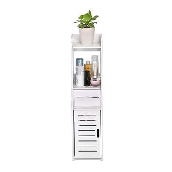 Mueble Columna de Baño, Mueble Auxiliar Baño Panel de PVC Resistente a la Humedad ,