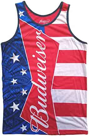 b122ed3d2dd4f Budweiser Stars and Stripes 4th of July American Flag Tank Top for Men