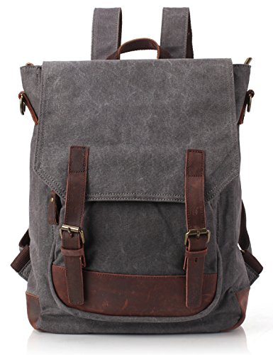 ZEKAR Canvas Leather Backpack, 2 Way to Carry (S-grey)