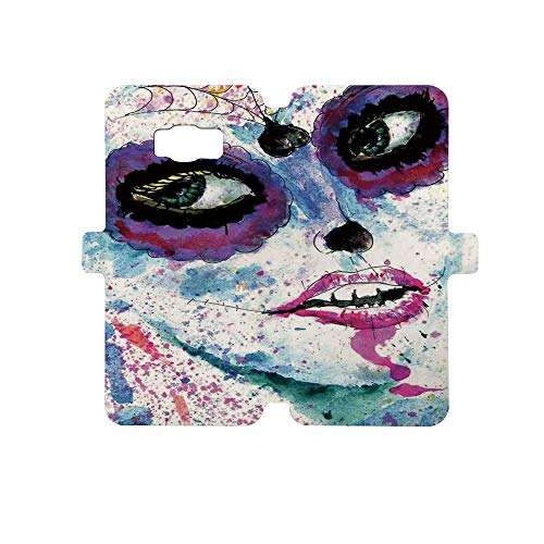 Painted Galaxy S8 Case - Premium Protective Cover Phone Cases for Girls,Girls,Grunge Halloween Lady with Sugar Skull Make Up Creepy Dead Face Gothic Woman Artsy,Blue Purple