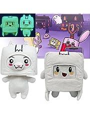 Lankybox Plush Glow in The Dark Foxy Plush Boxy Rocky Ghosty Sticky n' Canny Plush Dolls,Removable Cartoon Robot Stuffed Plush Pillows Gift for Fans