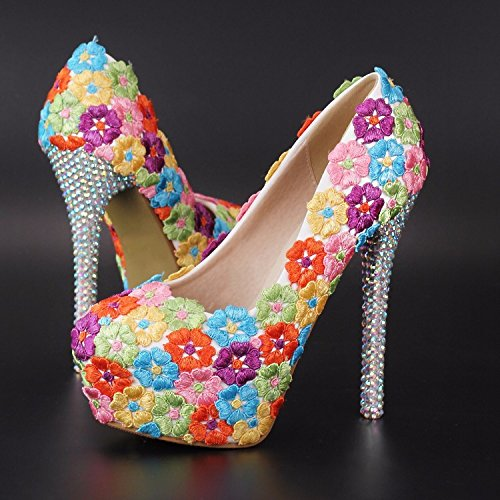 Round Mouth Fine Shallow cm Women's 12 LEIT Waterproof Shoes with Thin Rainbow High Heel Head Platform Shoes xwR0qIqYv