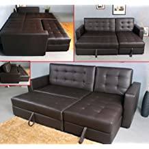 HomCom Multi-function Fordable Leather Sofa Bed Set Loveseat Sectional with Storage (Brown)