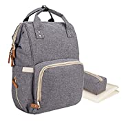 LNGLAT Diaper Bag Multi-Function Waterproof Large Baby Diaper Bag Backpack Durable Stylish Unisex Travel Knapsack with Insulated Pockets, Changing Pad, Insulated Bottle Pocket - Grey