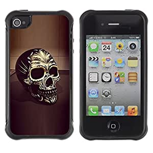 LASTONE PHONE CASE / Suave Silicona Caso Carcasa de Caucho Funda para Apple Iphone 4 / 4S / Skull Yellow Gold Bling 3D Black Death