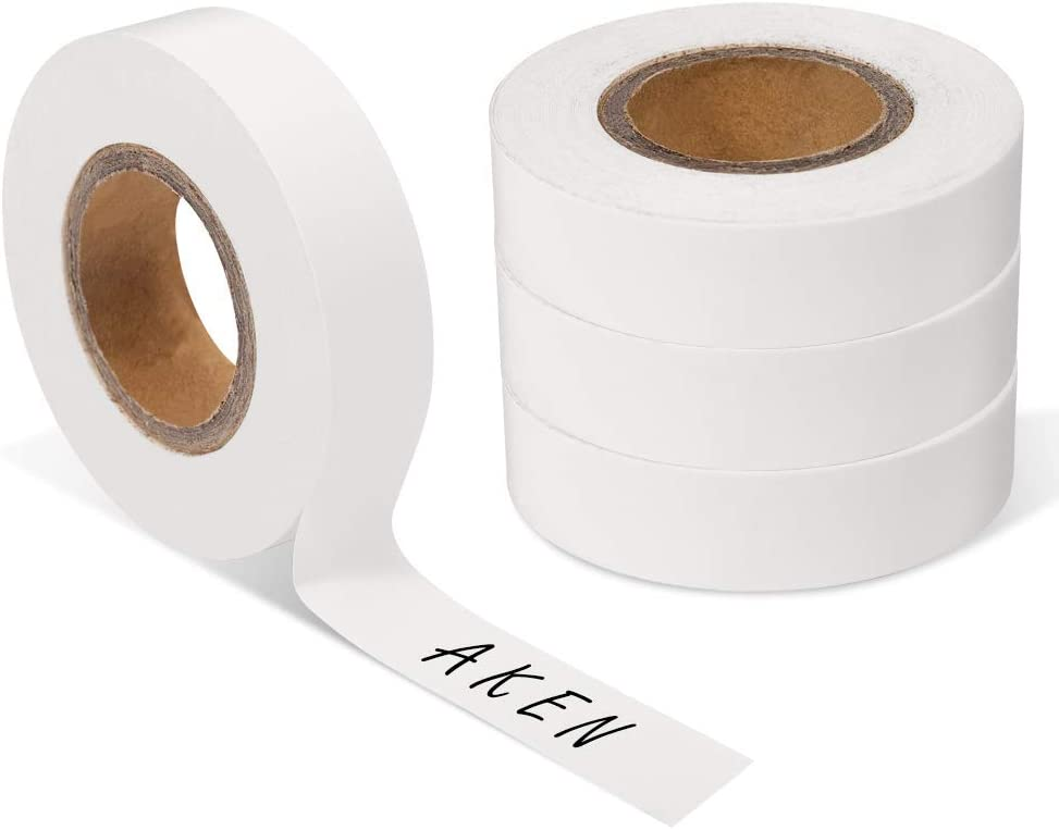 AKEN 1/2 Inch Removable White Writable Label Tape, Paper Handwritten Console Adhesive Labeling Tapes, Food Freezer Masking Tape for Kitchen, Write on Laboratory Writing Labels, Painters Paper Tape