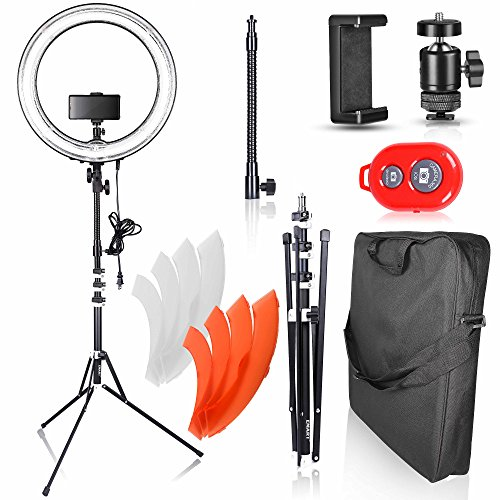 Emart 18 inch Dimmable Ring Light with Stand, 75W Fluorescent Flash Circle Lighting Kit for Photography, Makeup & Photo/Video Shooting in Studio, for Camera and iPhone (Center Round Tone)