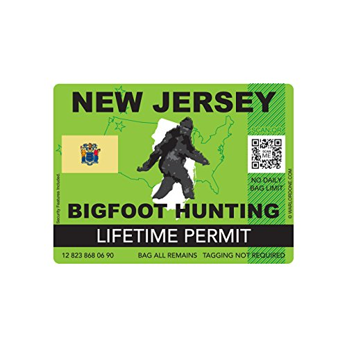 New Jersey Bigfoot Hunting Permit Sticker Die Cut Decal Sasquatch Lifetime FA Vinyl