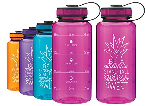 LivinLotus Pineapple - Wide Mouth 34oz Water Bottle - Inspirational Water Tracker for Hydration Tracking with Time Tracked by the hour for THREE refills and Motivational Quotes (Pink)