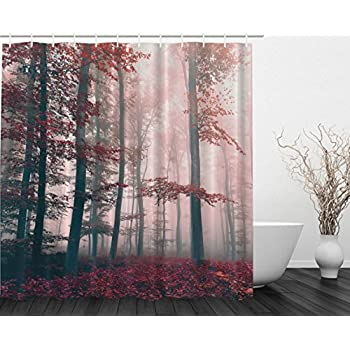 Woodsy Shower Curtain Red Mystic Forest Mystical Charcoal Foggy Country Decor Photography Enchanted Wild Jungles