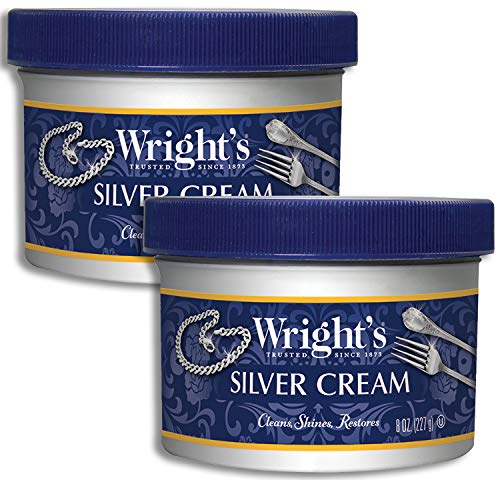 (Wright's Silver Cleaner and Polish Cream- 2 Pack - 8 Ounce - Gently Clean and Remove Tarnish Without Scratching)