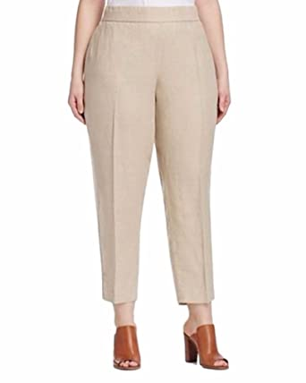 297a1af0762f82 Eileen Fisher Organic Linen Ankle Length Pants Natural Beige at ...
