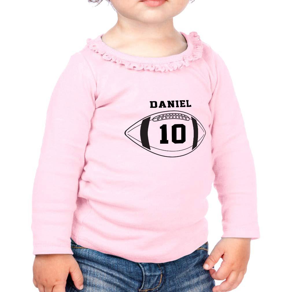 Personalized Ball Sport 10 Cotton Girl Toddler Long Sleeve Ruffle Shirt Top