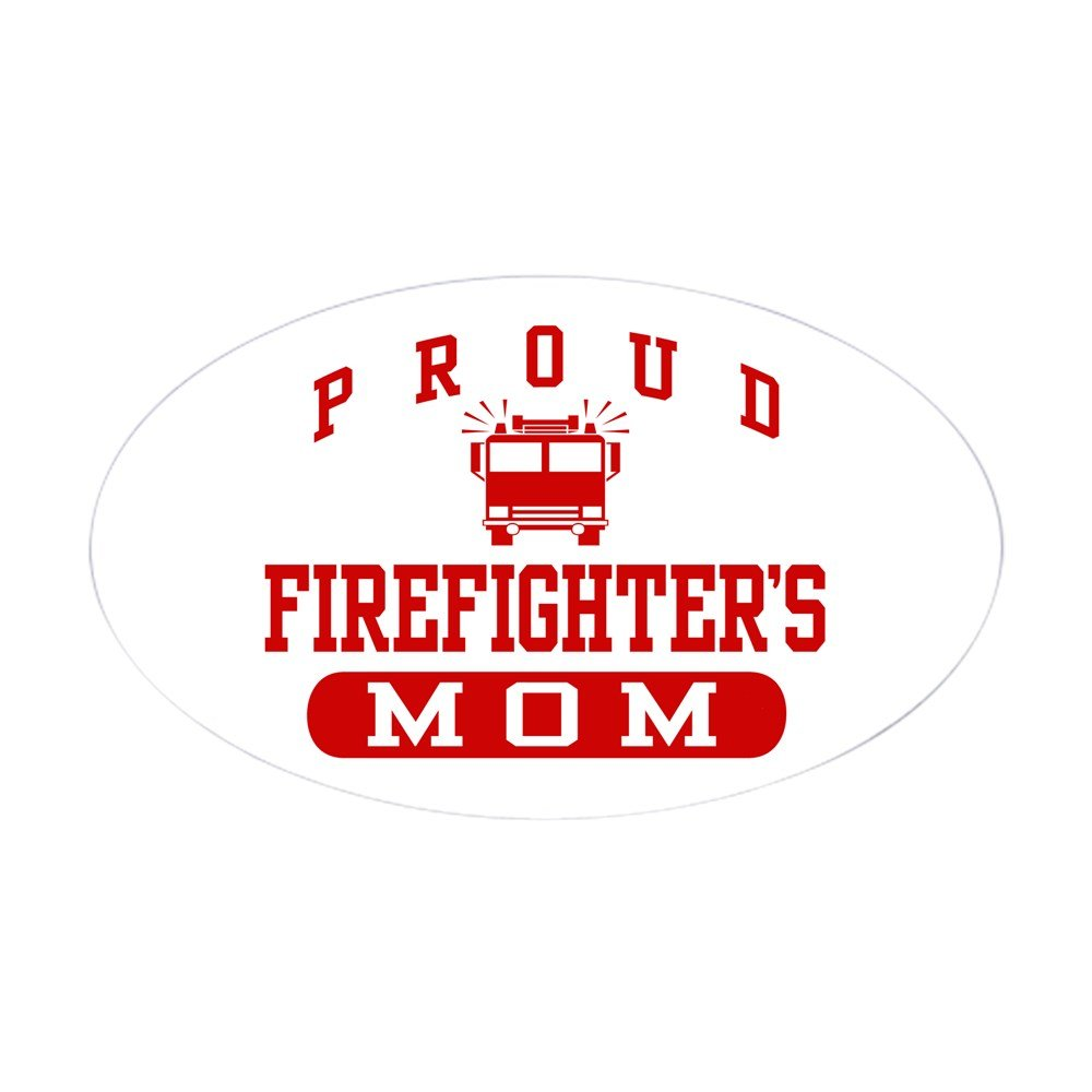 Amazon com cafepress proud firefighters mom oval sticker oval bumper sticker euro oval car decal home kitchen